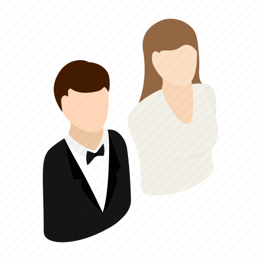 avatar, bride, celebration, female, groom, isometric, newlywed icon