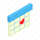 agenda, calendar, date, day, isometric, love, wedding