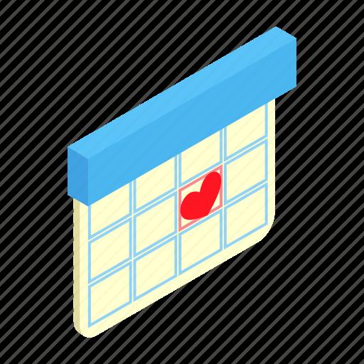 agenda, calendar, date, day, isometric, love, wedding icon