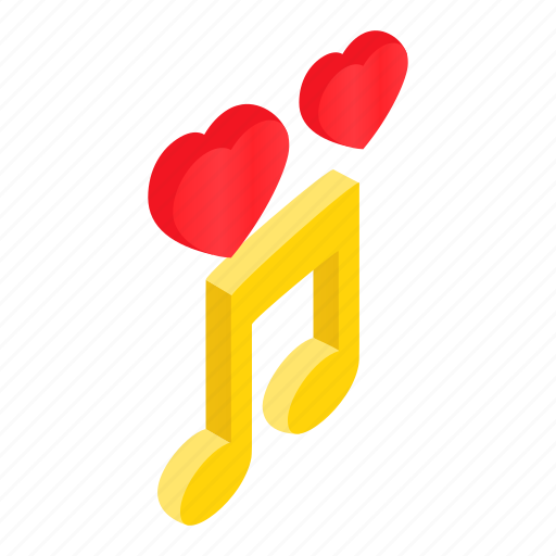 heart, isometric, love, music, musical, note, romantic icon