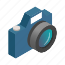 camera, digital, focus, isometric, lens, photo, photography icon