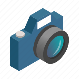 camera, digital, focus, isometric, lens, photo, photography icon