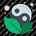 leaf, symbol, yang, yin icon
