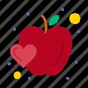 apple, food, fruit, heart icon