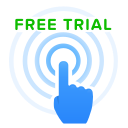 click, free, hand, point, ripples, trial icon