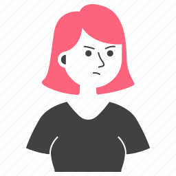 avatar, expression, girl, people, rage, short hair, woman icon