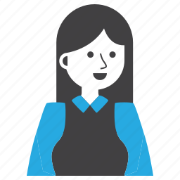 avatar, expression, girl, long hair, people, suit, woman icon