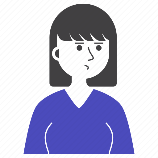 Avatar, expression, girl, people, short hair, woman, worry icon - Download on Iconfinder