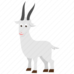 farm, goat, gray, white, wild icon