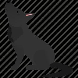 dark, dog, gray, wild, wolf icon