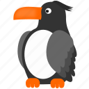 bird, dark, gray, toucan icon