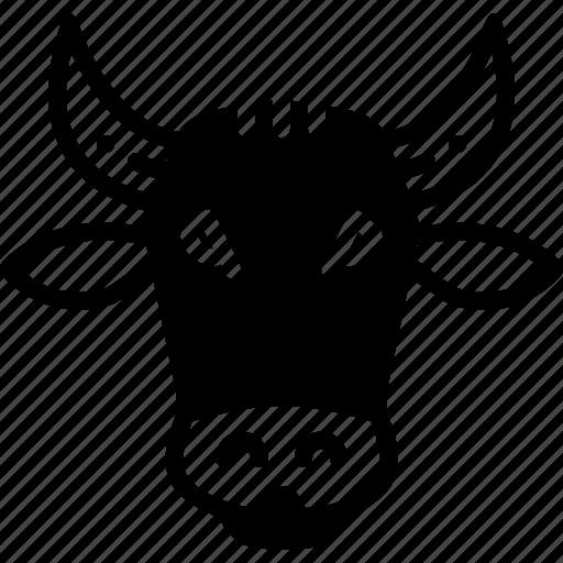 animal, cow, face, farm icon