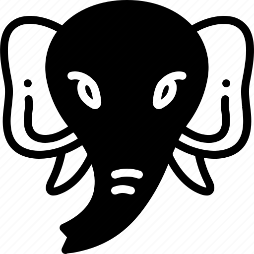 animal, elephant, face, head icon