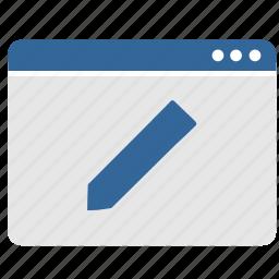 app, application, pencil, tool, window, write icon