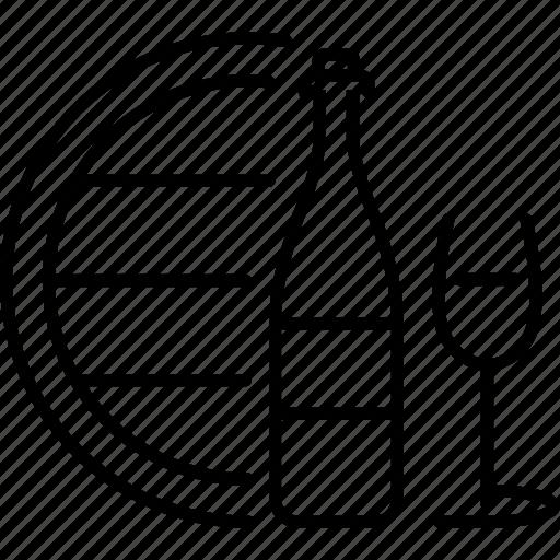 barrel, bootle, glass, wine icon