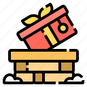 chimney, christmas, gift, present, winter