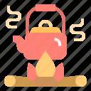 bonfire, campfire, camping, flame, teapot icon