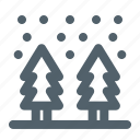 cold, forest, snowfall, weather, winter icon