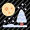 night, branch, snow, winter tree, cold icon