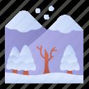 snow, mountains, nature, landscape icon