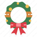 christmas, decoration, home, wreath icon