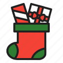 christmas, gift, present, socks, winter icon