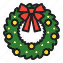 arrangement, christmas, decoration, plants, ribbon, winter, wreath icon