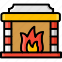 christmas, fireplace, household, interior, warming, winter icon