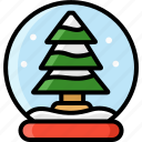 christmas, gift, snowglobe, tree, winter icon