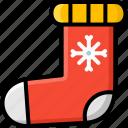 christmas, claus, decoration, santa, sock, winter icon