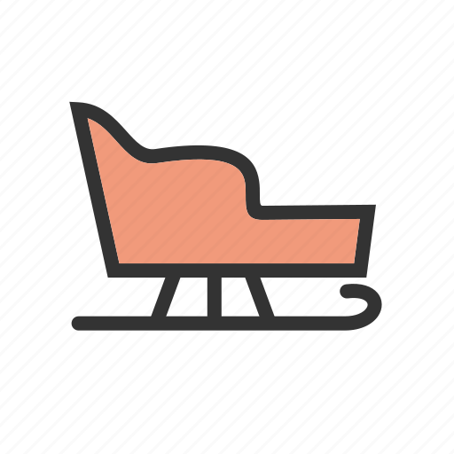 seat, sled, sledge, snow, v, winter, wooden icon