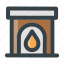 burn, christmas, fireplace, flame, hot, interior, winter icon