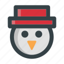 character, christmas, cute, face, head, snowman, winter icon
