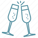 celebration, champagne, holiday, party, winter icon