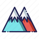 hill, landscape, mountains, snow icon