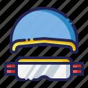 equipment, goggles, helmet, snowboard icon
