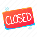 closed, shop, sign, tablet icon