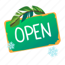 open, shop, sign, tablet icon