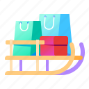 purchases, sled, sleigh, snow icon