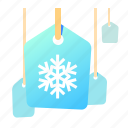 label, shopping, snowflake, tag icon