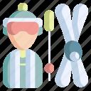 winter, sport, skiing, ski, outdoor, poles, holiday icon