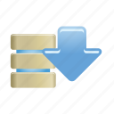 data, database, documents, download, folder, server, storage icon