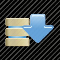 data, database, documents, download, folder, server, storage icon