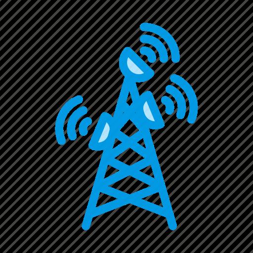 antenna, dish, satellite, tower, wifi icon