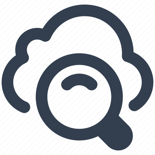 cloud, find, magnifying glass, network, search, wireless icon