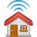 home, house, radio waves, signal, smart home, technology, wireless icon