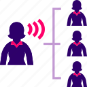 boss, comunication, employees, woman icon