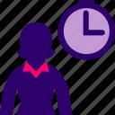 clock, executive, hour, time, woman