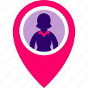 executive, find, map, pin, woman