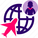 business, globe, plane, travel, woman icon